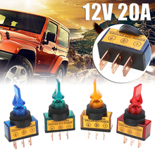4pcs/set 12V 20A LED Toggle Rocker Switch 3 Pin On/Off SPST For Car Boat Marine LED Rocker Switch Red Green Blue Orange jtron diy 2 pin toggle switch on off blue silver 5 piece pack