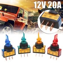 цена на 4pcs/set 12V 20A LED Toggle Rocker Switch 3 Pin On/Off SPST For Car Boat Marine LED Rocker Switch Red Green Blue Orange