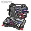 WORKPRO 123 PC coche conjunto de herramientas de reparación de automóviles herramienta mecánico Kits de herramienta Llave de trinquete llave hembra 2019 nuevo diseño