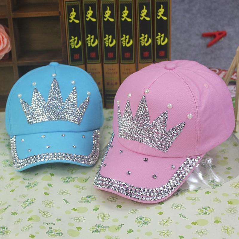 Women Summer Pink Baseball Caps Crown Crystal Rhinestone Snapback Caps Bone Masculino Cowboy Hat YJWC631