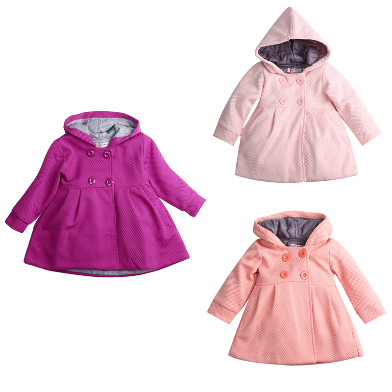 Fashion Baby Coats Baby Girl Clothes Jacket Autumn and Spring Cotton Lining Jacquard Baby Jas Coat Hooded Outerwear Jacket V35
