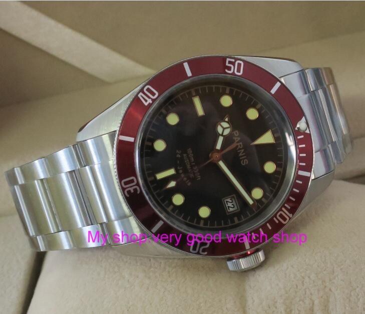 41mm Parnis Saphir Cristal Japonais 24 bijoux Automatique Auto-Vent Mouvement Mécanique montres 10Bar Lumineux Hommes de montres 99