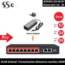 48 V 8 коммутатор POE портов ethernet с IEEE 802,3 af/по протоколу RJ45 сети ethernt переключатель с 10/100 Мбит/с на все POE беспроводной AP устройства