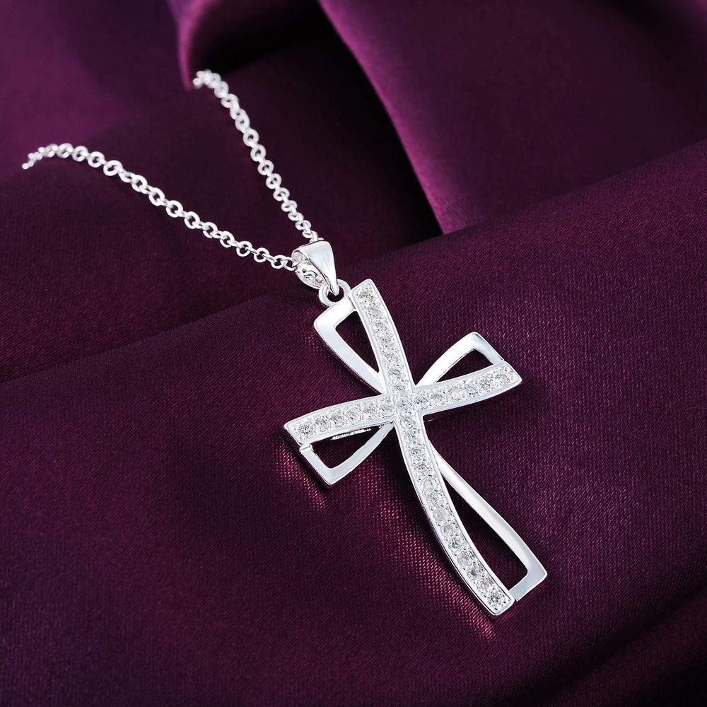 Promotions Hot sale silver for women cyrstal Cross pendant necklace font b jewelry b font silver