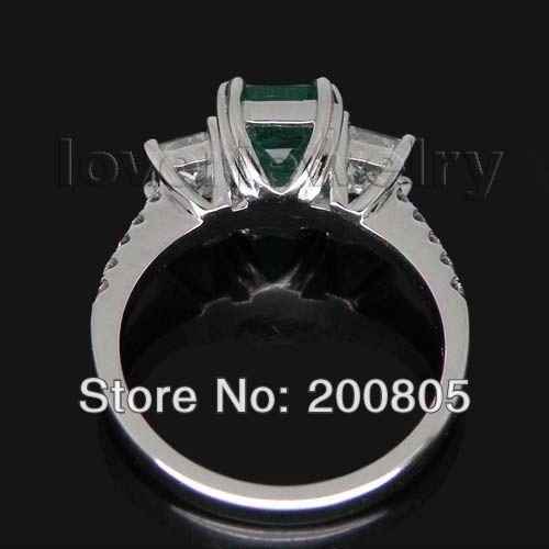 Vintage Three Stones 14Kt White Gold Diamond Natural Emerald Ring Princess Cut Diamond Luxury Design for Wife SR338