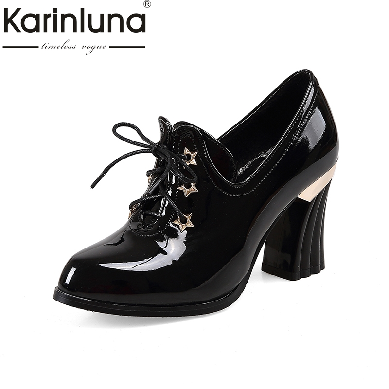 KarinLuna Plus Size 32-47 Women elegant office lady Pumps Vintage Square High Heels Pointed Toe Spring Autumn PumpsKarinLuna Plus Size 32-47 Women elegant office lady Pumps Vintage Square High Heels Pointed Toe Spring Autumn Pumps