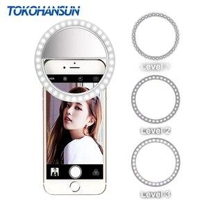 TOKOHANSUN кольцо для селфи светодиодное фотографическое освещение с USB зарядкой кольцо светодиодное кольцо для IPhone 7 8 X Xiaomi для объектива телефо...