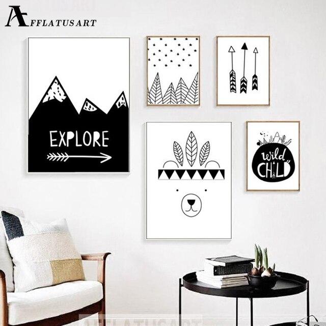 AFFLATUS explorer enfant mur Art toile peinture nordique affiches et impressions noir blanc pépinière mur photos enfants chambre décor