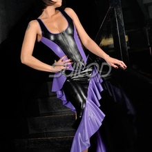 Latex Rubber mermaid Dress sexy club long dresses  longuette purple color eveningwear evening clothes