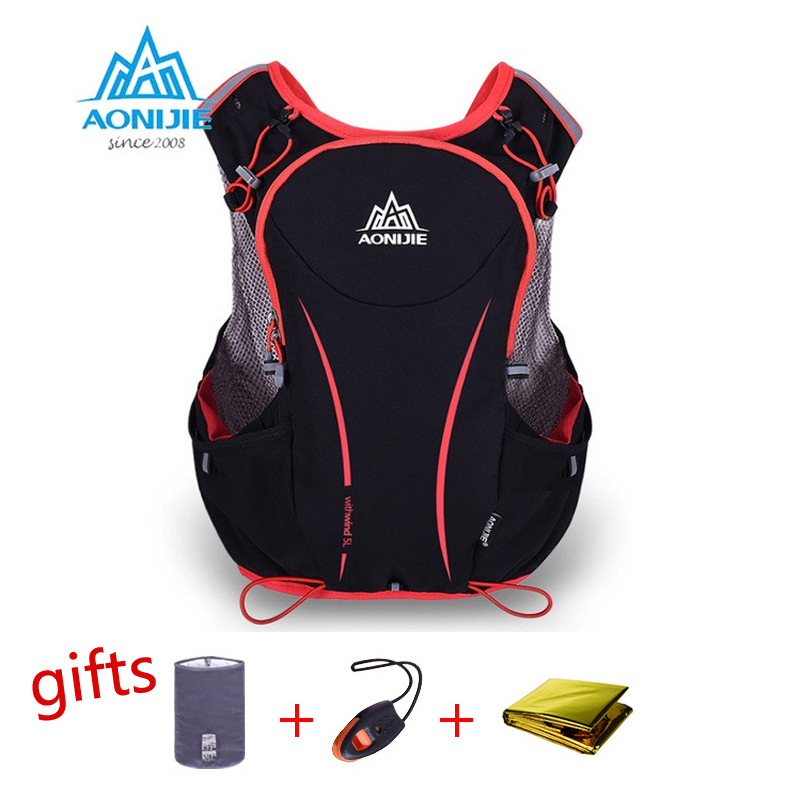 AONIJIE 5L Running Backpack Kettle Package Marathon Cycling Bags Running Vest Kettle Sport Bag Kalis Air Bag Nylon