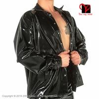 Сексуальный черный латексный пиджак с длинными рукавами резиновая рубашка блузка Gummi Униформа платье костюм топ одежда плюс размер XXXL SY 028