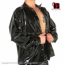 Sexy Black Latex jacket Long sleeve Rubber shirt Blouse Gummi Uniform Dress Catsuit Top clothes clothing plus size XXXL