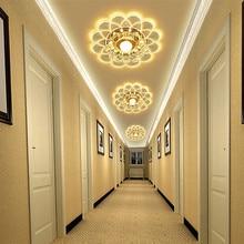 3W Flower Shaped 5 Style Crystal Flush Mounted Art Ceiling Light Corridor Aisle Lamp Living Room Night Lighting Home Decor