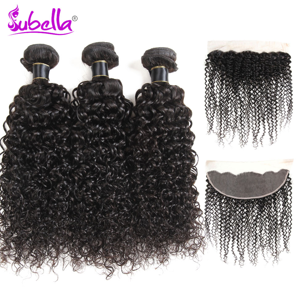 Subella Hair Indian Hair Kinky Curly 3 Bundles Human Hair Weave Bundles With Lace Frontal Non-remy