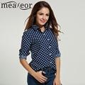 Meaneor Marca Polka Dot Blusa de Las Mujeres Camisa con Botones de Manga Larga de Gasa Floja Ocasional Señoras Oficina de trabajo Elegante Parte Superior blusa