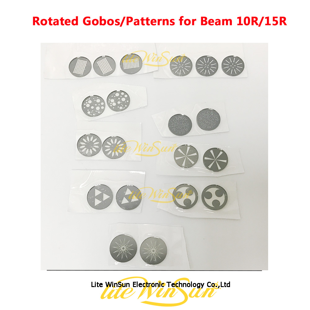 Litewinsune Freeship Rotated Gobos Pattern Glass For Stage Lighting Beam 10R 280W Spot 17R Replacement Accessories