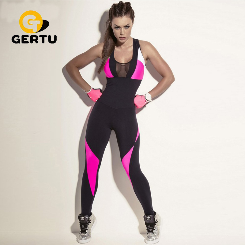 2017 Fashion Mesh Sporting Bodysuit Women Fitness Stretch Sexy Jumpsuits Backless Candy Pink Black Patchwork Hollow Out Playsuit girl