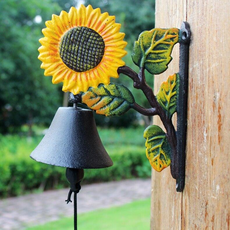 Чугун Добро пожаловать ужин колокольчик Подсолнух висящий декоративный дверной колокольчик металлический ремесло Открытый сад настенный