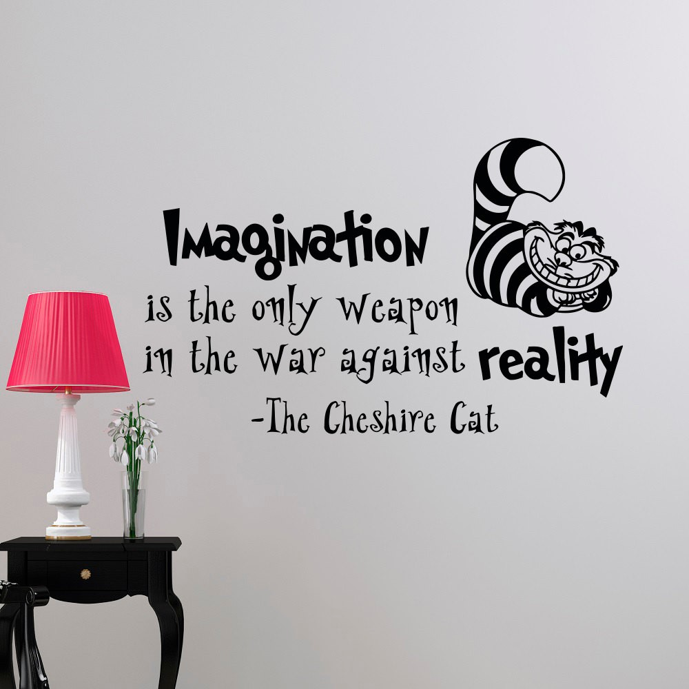 2017new Wall Decal Alice In Wonderland Mural Cheshire Cat Diy Home Decor Wall Decals Nursery Bedroom