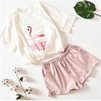 Short-sleeved Flamingo Printing Pajamas Summer Cotton Shorts Sleepwear Sweet Cartoon Leisure Thin Home Suit Round Neck Pijamas