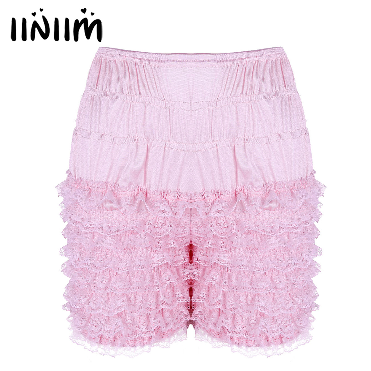 Sexy Womens Ruffle Summer Casual Shorts Bloomers Lace Sissy Frilly Knickers Layered Boyshort Womens Clubwear Dance Shorts
