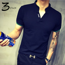 XMY3DWX New Fashion men summer high-grade Pure color v-neck Short sleeve T-shirt/Male leisure slim Fit Letter printed shirt