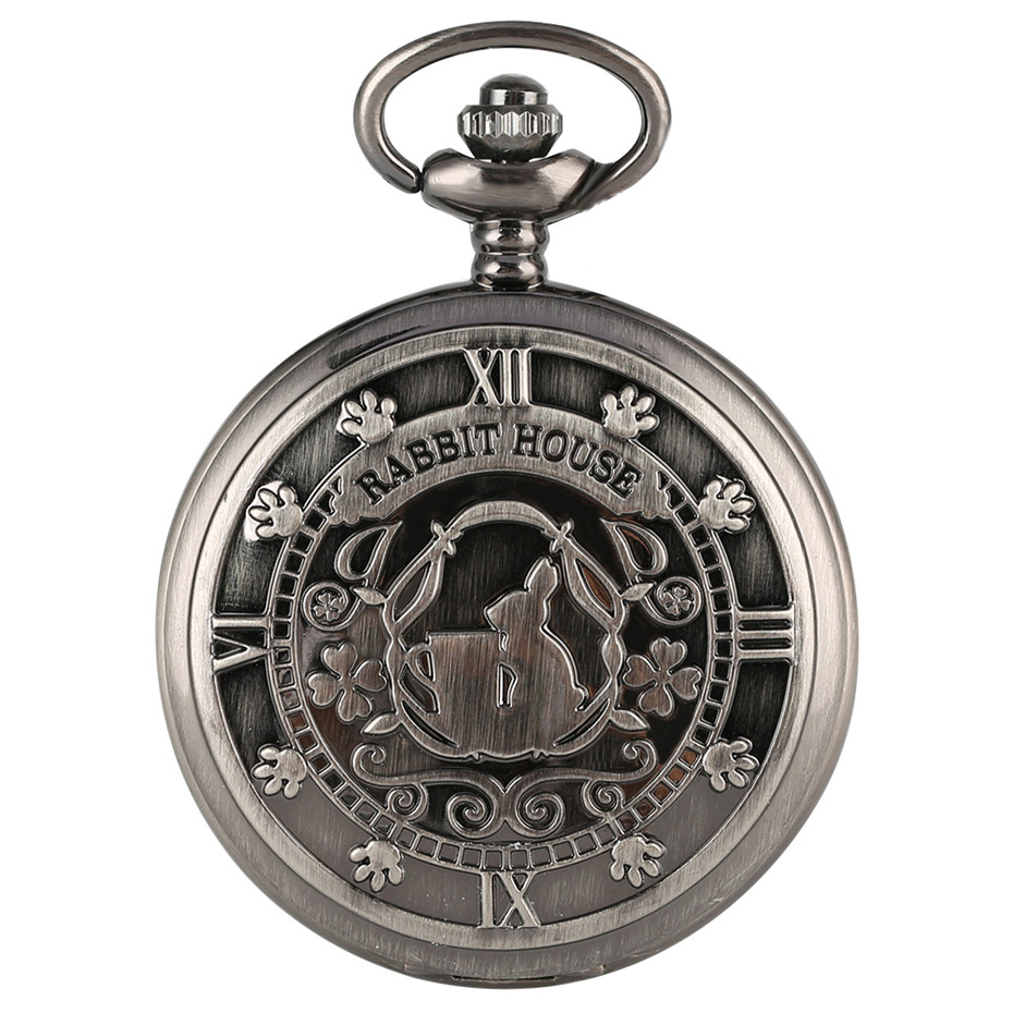 Rabbit House Alice In Wonderland Theme Quartz Pocket Watch Retro Grey Full Hunter Necklace Clock With 80 Cm Chain Top Gifts Girl