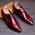 men's stage nightclub bright patent leather shoes point-toe personality oxfords shoe lace-up Masculinos Social Zapatos Hombre