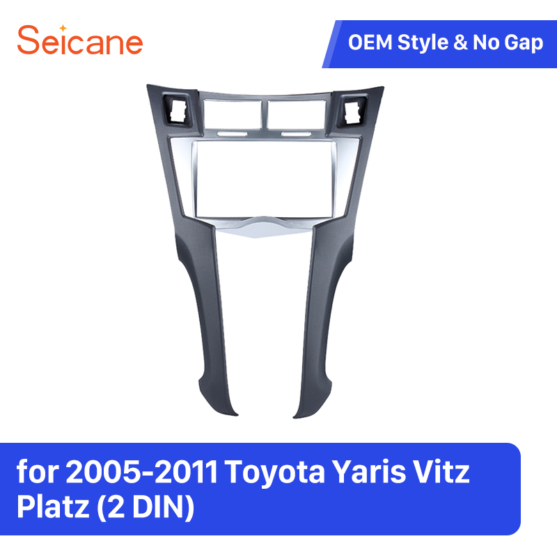 Seicane 2 Din Car Stereo Frame Trim Kit of Dashboard for 2005 2011 Toyota Yaris Vitz Platz DVD Player Installation Bezel