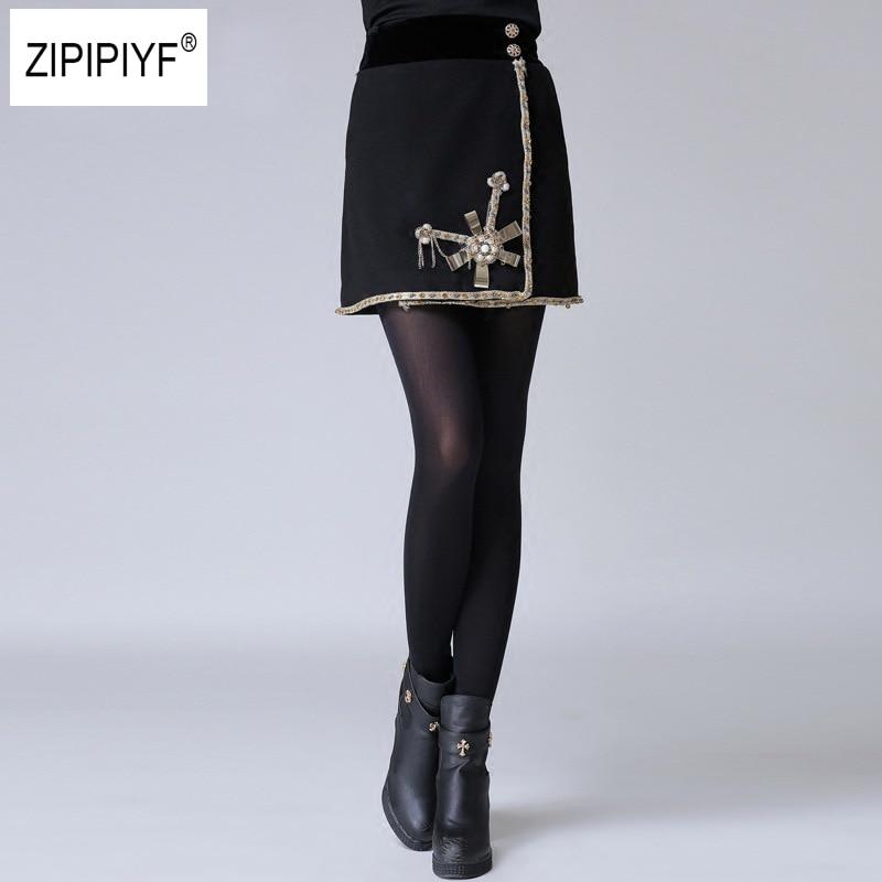 Заклепки подробно юбка женский, черный Винтаж шерстяные юбки линии Мода 2017 г. Демисезонный осень девушки Повседневное короткая юбка B1110