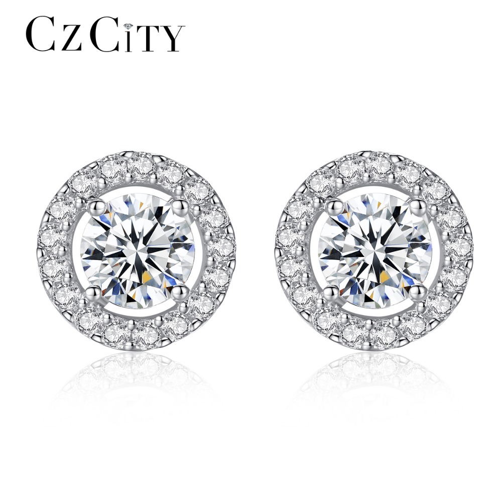 CZCITY Classic 925 Sterling Silver Stud Earrings for Women Vintage Disk Tiny CZ around Women Earring 2018 Fine Jewelry Brand цена