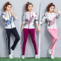 2016 New Autumn And Winter Long sleeve Fashion Flower pattern Hooded sweater Home Women's suit big yards
