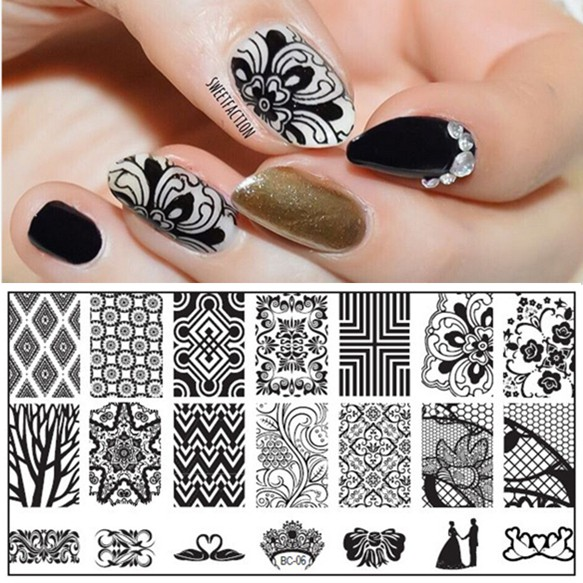 1PC 6 12cm DIY Nail Art Image Stamp Stamping Plates Sweetheart Lovers Couple Swan Crown Dappled Floral Pattern Manicure Template in Nail Art Templates from Beauty Health