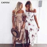 2017 Women Shoulderless Floral Printed Boho Dress Fashion Ladies Beach Summer Dress Female Stapless Long Maxidress