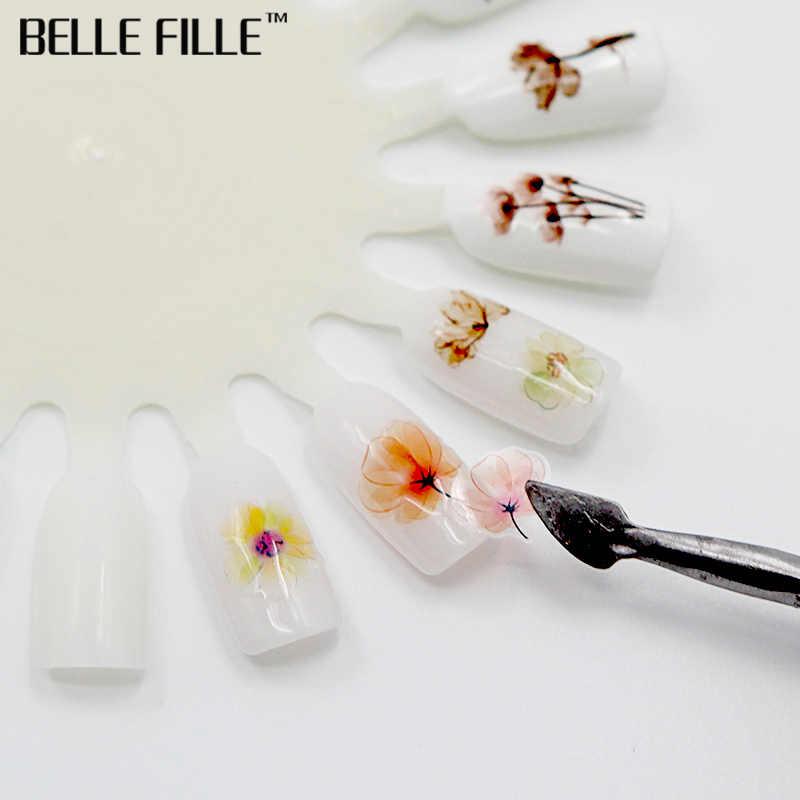 Belle Fille 1 шт. наклейка на ногти водная синяя бабочка цветок переводная наклейка Слайдеры для 3D украшение для ногтей Маникюрные обертывания инструменты