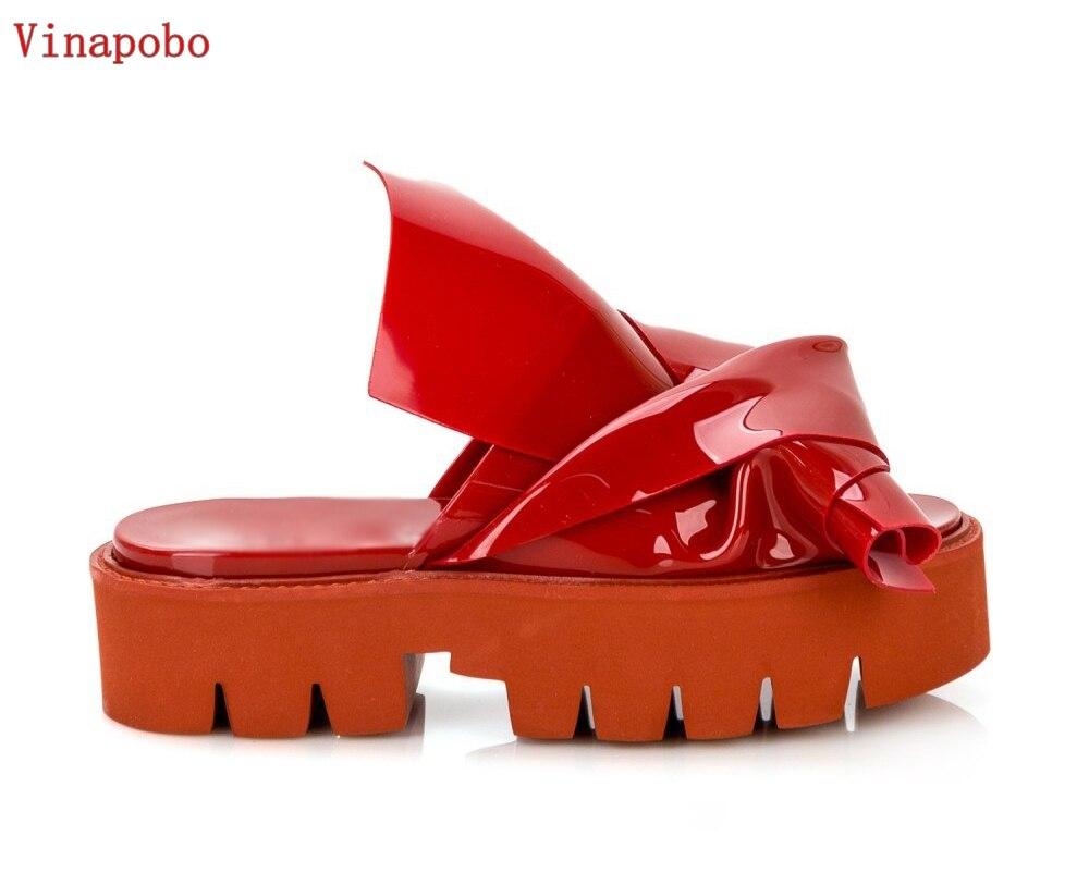 Vinapobo Women Slipper High Heel Platform Women Bowtie Bowknot Leather Slippers Outside Slides Ladies Beach Flats
