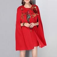HIGH QUALITY Winter 2017 Designer Suit Set Women's Rose Sequined Beading Cloak Cape Wool Coat Dress Set