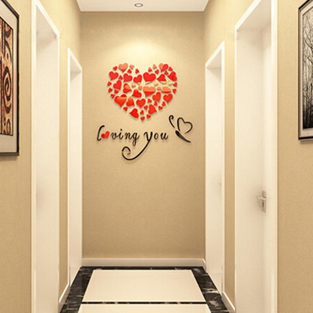3D Acrylic Wall Stickers Decor 40x40cm Lovely Mirror