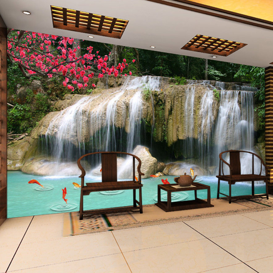 Custom Mural Wallpaper 3D Non-woven Waterfall Landscape Wall Decorations Living Room Kitchen Pictures Modern Wallpaper For Walls