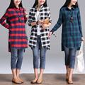 2016 autumn loose cotton plaid women blouses vintage casual long sleeve shirt women lapel package office shirts blusas