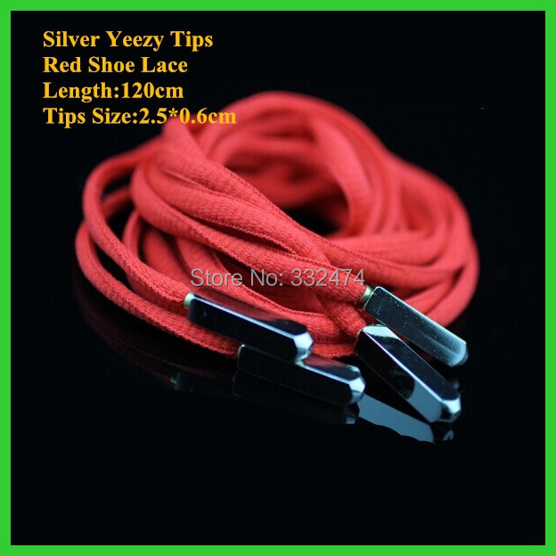 2018 New Arrival Shoelace With Silver Yeezy Tips Shoe Lace Basketball Red Shoestring One Pair For Sale