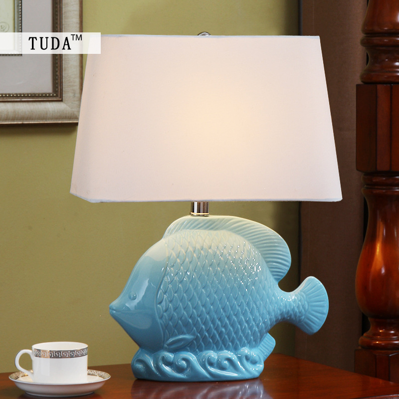 TUDA 36X49cm Free Shipping Mediterranean Sea Style Ceramic Table Lamps Fish Carving Hand-painted Ceramic Table Lamp For Foyer long yi painted red lacquer carving pendant with rich fish car hongfu snake zodiac mascot 2000599 years