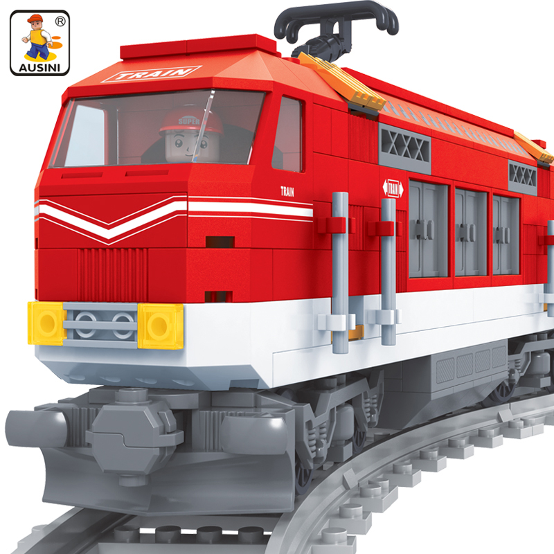 Ausini 588pcs Building Blocks City Series Train with Tracks Railroad Conveyance Model Building Kits brinquedos toys