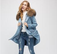 2017 New Women S Fur Lining Coat With Large Fur Collar Women S Style Of Denim