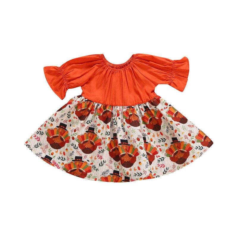 Baby Girl Dress Infant Toddler Kid Thanksgiving Turkey
