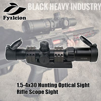 Tactical 1.5 4x30 Tri illuminated (Red/Green/Blue) Mil dot Reticle Rifle Scope Sight With RMR Adjustable Red Dot Scope Spotting