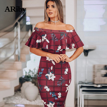 Sexy Bodycon Party Dress Women Summer Dress 2019 Fashion Sexy Off The Shoulder Tightly Wrapped Buttocks Printed Strapless Dress