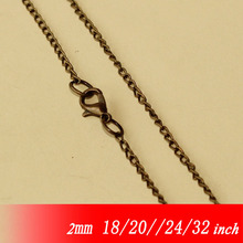 Metal Antique Bronze Color 2mm Fashion Necklace Curb Chains With Lobster Clasps For Jewelry Links Pendants 18/20/22/24/32""