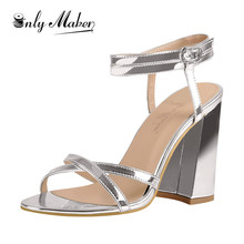 Onlymaker 2019 Women's Double Ankle Strappy Heeled  Gold Silver Peep Toe Sandals Cross Band Chunky Block Heel  For Summer