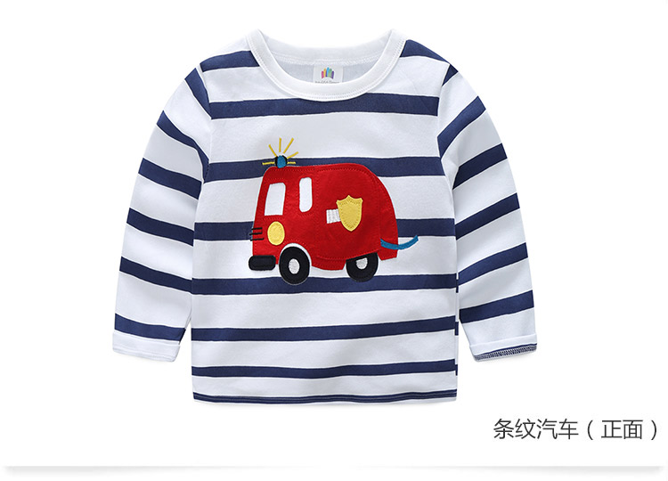 2018 Spring Autumn For 2-9 10 Years Children Cotton Striped Patchwork Cartoon Car Bus Truck Baby Kids Boys Long Sleeve T Shirts (34)